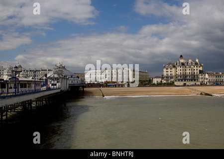 A view of Eastbourne seafront from the pier,  East Sussex, UK - Stock Photo