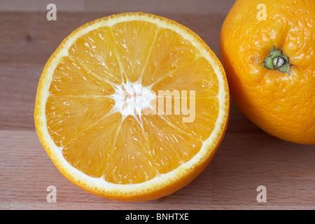 sliced salustiana citrus sinensis orange fresh fruit - Stock Photo
