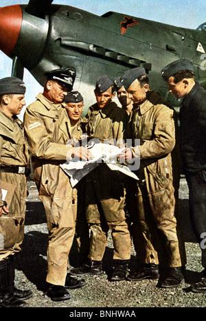 World War II Nazi Germany against England Britain Luftwaffe pilot fighter aircraft meeting pilots map aeroplane - Stock Photo