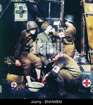 World War II Operation Overlord US Medics England soldiers Red Cross helping help medicine check July 6 1944 Second - Stock Photo