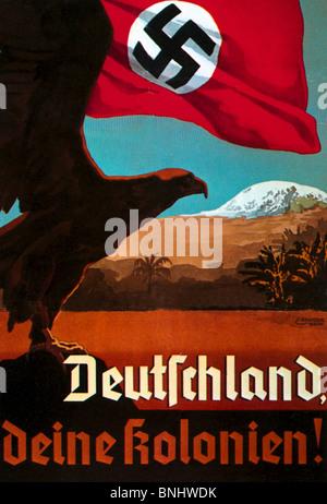 Germany 1935 colonialism Poster Propaganda Nazism Nazi Germany Germany history historic historical colonies colony - Stock Photo