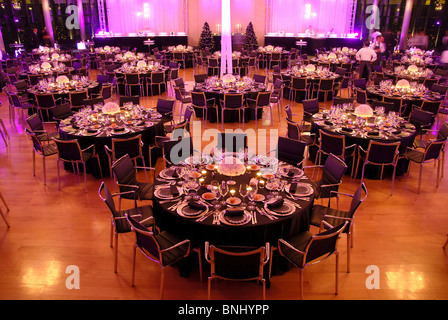Event company evening decoration adornment table desk festival food dinner hall Food indoor indoors gala tables - Stock Photo