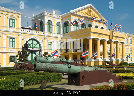 Bangkok city Thailand Siam South-East Asia ministry department defense cannons garden flags colonial Prestige government - Stock Photo