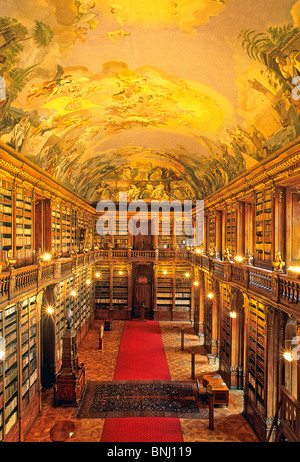 Czechia Prague Fresco Strahov monastery library cloister culture books old historic - Stock Photo