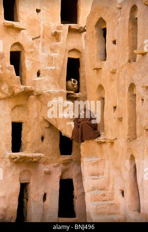 Tunisia Africa North Africa Arabian Arabic Arab Tataouine town city Ksar Ksur Berber granary sultan Ouled Soltane - Stock Photo
