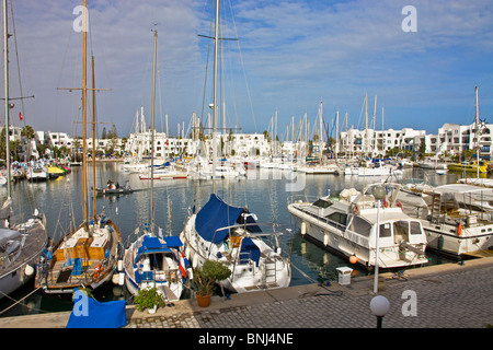 Tunisia Africa North Africa Arabian Arabic Arab Sousse town city port El Kantaui tourism harbour port boats - Stock Photo