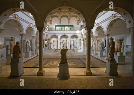 Tunisia Africa North Africa Tunis town city Bardo National Museum ancient historic roman history mosaic inside culture - Stock Photo