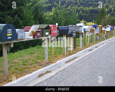 South Island New Zealand letter mailbox mailboxes entrance information communication mass news message news messages - Stock Photo