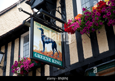 Public house sign The Greyhound Lavenham Suffolk - Stock Photo
