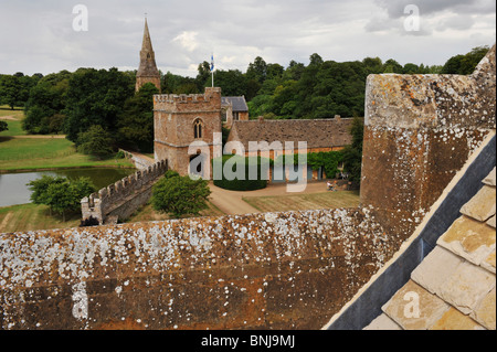 Broughton Castle near Banbury in Oxfordshire. From the roof of the main building  overlooking the gatehouse and - Stock Photo