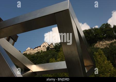 Fürstentum building Principality of Liechtenstein castle Vaduz sculpture modern old new mountain art culture - Stock Photo