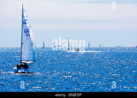 Sweden Stockholm Archipelago Baltic Sea Blue Europe Exterior Navigation Outdoors Outside Sail Sailboat Sailboats - Stock Photo