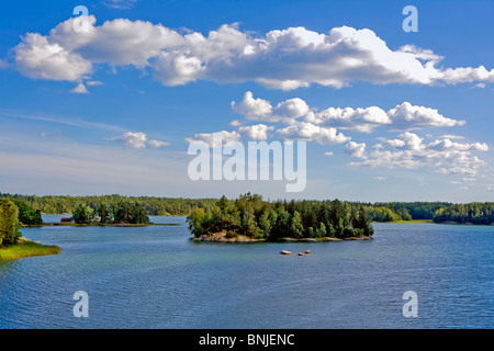 Sweden Stockholm Archipelago Baltic Sea Blue Europe Exterior Island Islands Islet Nature Nobody Outdoors Outside - Stock Photo