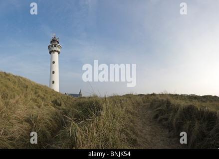 Lighthouse Egmond aan Zee Noord-Holland Netherlands Construction Winter Dunes Coast Scenery Sky Grass - Stock Photo