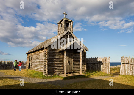 Chile South America March 2009 Chilean Patagonia Strait of Magellan Bulnes Fort wooden wood palisade historic historcial - Stock Photo