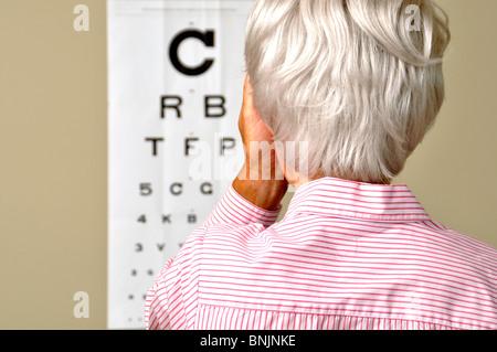 Visual Acuity Eye Test Mature Senior Woman Medicine Old Sick Doctor Chart Eyes - Stock Photo