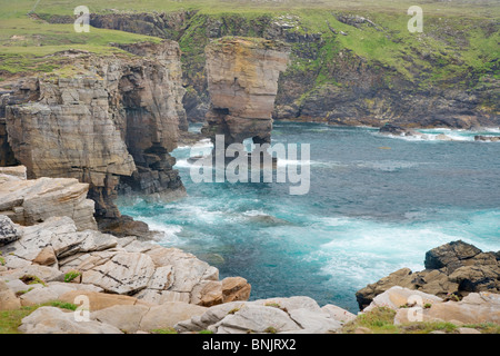 Cliffs at Yesnaby and offshore stack Yesnaby Castle Orkney Mainland LA005137 - Stock Photo