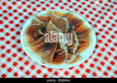 Jamon Serrano (cured ham) served on a white plate, Andalucia, Spain, Western Europe. - Stock Photo