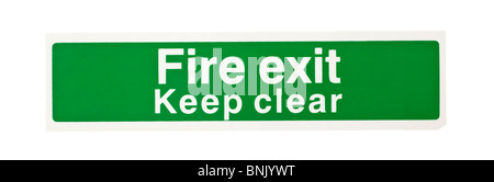 Green fire exit keep clear warning sign - Stock Photo