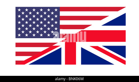 American and British flags joined together, isolated on white background. - Stock Photo