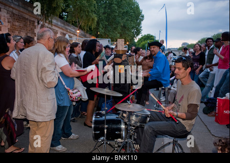 Paris, France, Crowd of People at Music festival, Public Events, Musicians Playing on River Seine plage at Paris - Stock Photo