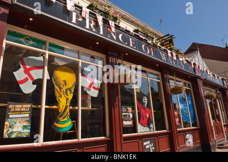 The Prince Of Wales Free House Pub With Football World Cup Decorations In Norwich Norfolk
