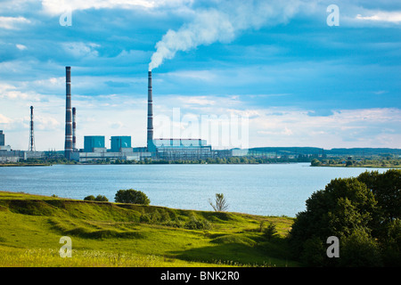 thermal power-station. spring landscape in a countryside. Russia, the Ryazan region. - Stock Photo