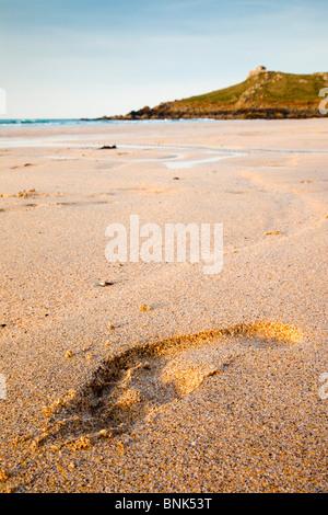 St Ives; Porthmeor beach; looking towards the island; footprint; Cornwall - Stock Photo