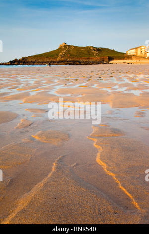 St Ives; Porthmeor beach; looking towards the island; Cornwall - Stock Photo