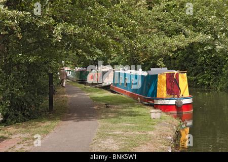 UK Oxford Barges On The Canal - Stock Photo