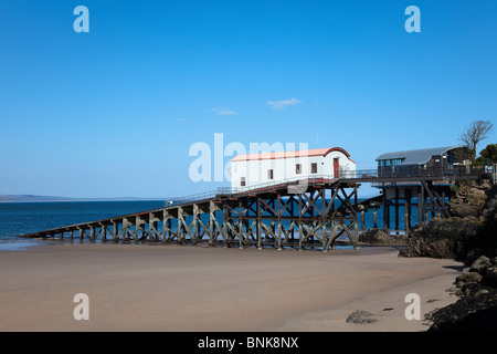 Old and new lifeboat stations Tenby Wales UK - Stock Photo