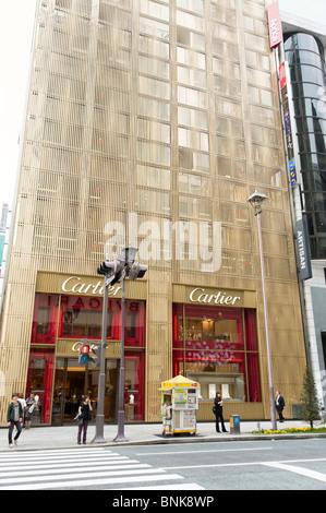 Cartier on Chuo-dori in Ginza 4-chome, Tokyo, Japan - Stock Photo