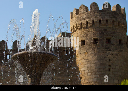 Fountain in front of the old city walls, Baku, Azerbaijan - Stock Photo