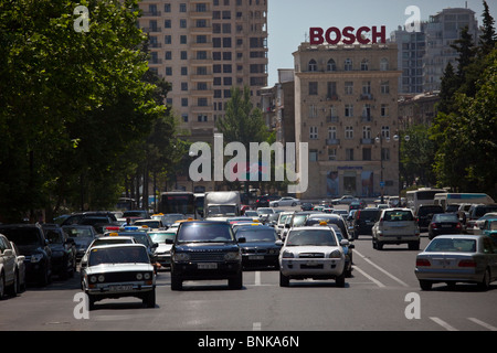 Street traffic, Baku, Azerbaijan - Stock Photo