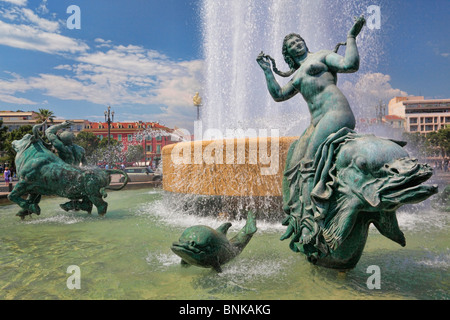 Fountains at Place Massena in downtown Nice on the French Riviera (Cote d'Azur) - Stock Photo