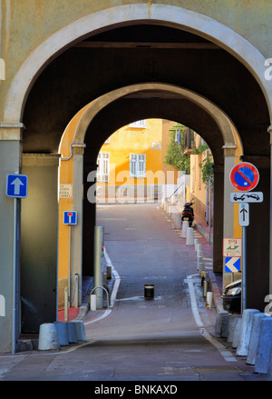 Street scene in the Vieille Ville (old town) part of Nice on the French Riviera (Cote d'Azur) - Stock Photo