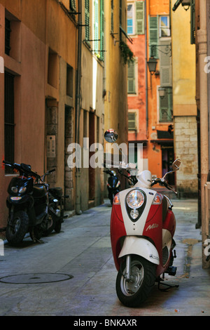 Vespa scooter in the Vieille Ville (old town) part of Nice on the French Riviera (Cote d'Azur) - Stock Photo