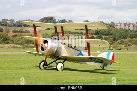 A Sopwith Triplane Replica World War One Fighter Aircraft. - Stock Photo