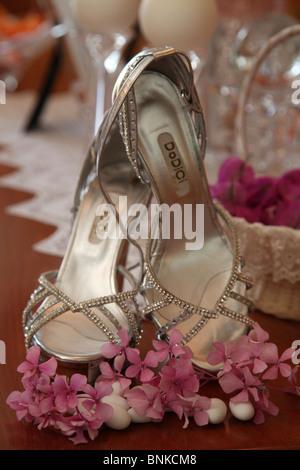 Brides shoes,wedding,shoes,woman,beauty,flowers,decoration,new, - Stock Photo