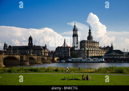 Germany Dresden Elbufer bridge residence castle castle the Elbe river flow traveling tourism holidays vacation - Stock Photo