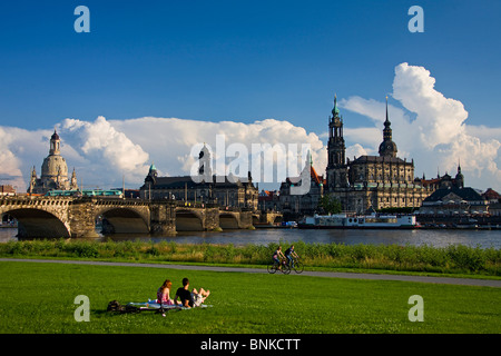 Germany Dresden Elbufer bridge residence castle castle the Elbe river flow Church of Our Lady traveling tourism - Stock Photo