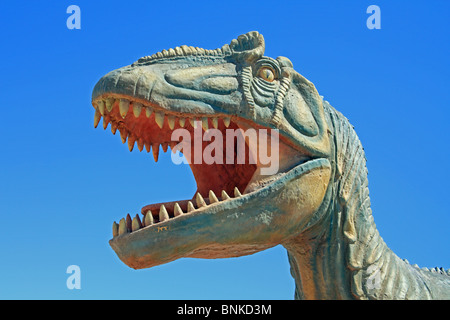Dinosaur model, in the Atacama Desert, near Pica, northern Chile - Stock Photo