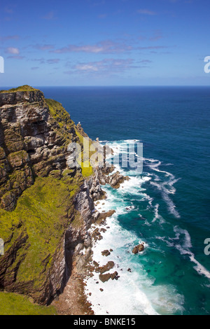 Cape Point, where the Indian Ocean meets the Atlantic, at the tip of the Cape Peninsula, South Africa. - Stock Photo