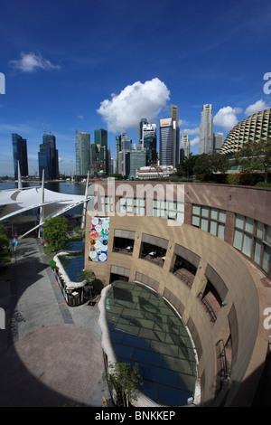 Singapore, city skyline seen from Esplanade Theatre - Stock Photo