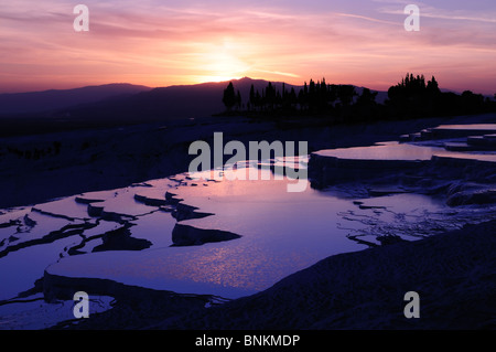 Sunset over the Hot Springs at Pamukkale Turkey Asia Minor - Stock Photo