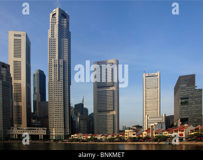 Singapore, Boat Quay, Central Business District, Singapore River, - Stock Photo