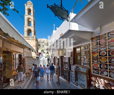 Shops in the village centre of Lindos, Rhodes, Greece - Stock Photo