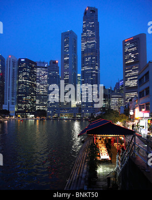 Singapore, Central Business District, Boat Quay, Singapore River, - Stock Photo