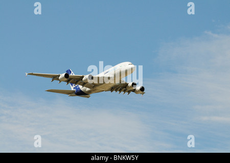 A380 Airbus a four engine double deck passenger aircraft in flight - Stock Photo