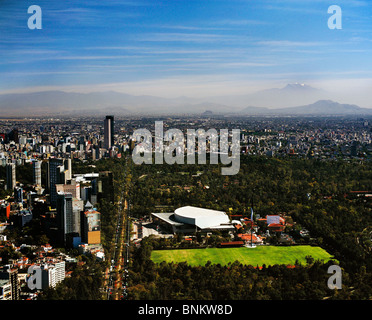 aerial view above National Auditorium Chapultepec Park Mexico City - Stock Photo